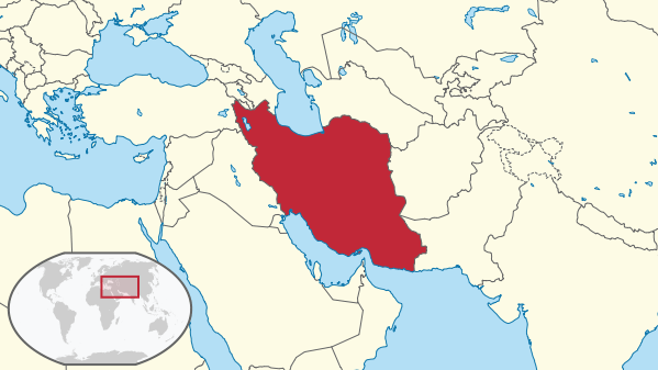 Map showing Iran's location within the Middle East by Wikipedia user TUBS
