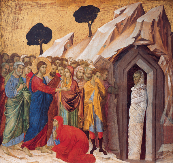 """""""The Raising of Lazarus"""" by Duccio, circa 1310-11. Wikipedia photo by the Kimbell Art Museum."""