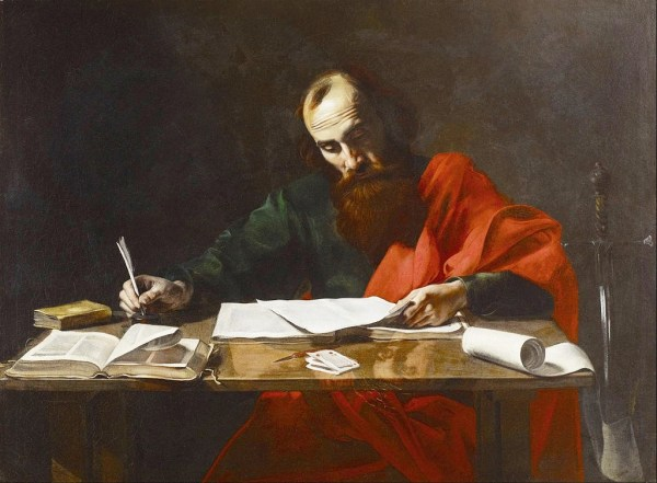 """Saint Paul Writing Hi Epistles"", probably by Valentin de Boulogne, 17th century"