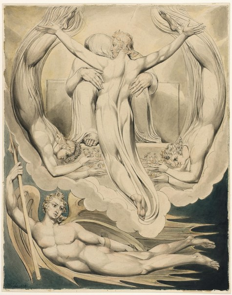 "Illustration by William Blake of Christ offering Himself to God the Father as a future sacrifice for the sins of humanity. From Blake's illustrations for John Milton's ""Paradise Lost""."