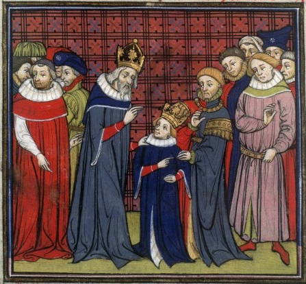 Illustration of Charlemagne (standing, crowned) and his son Louis the Pious from the Grandes Chroniques de France, circa 14th/15th century