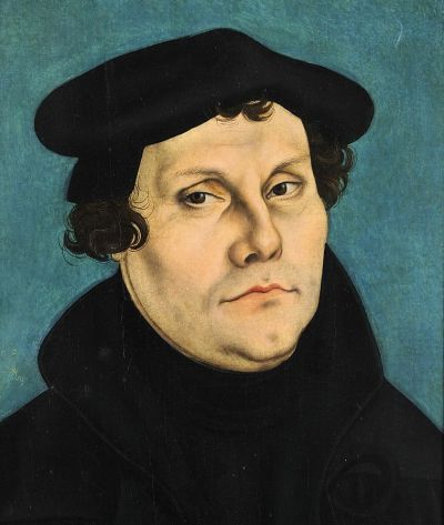 Portrait of a somewhat unhappy looking Martin Luther by his good friend, Lucas Cranach the Elder, circa 1528