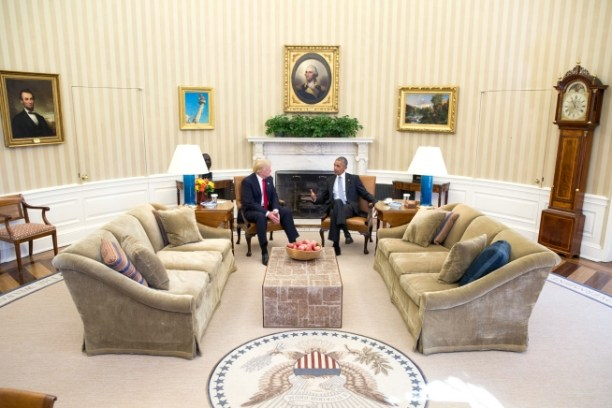 President-Elect Donald Trump meets with President Barack Obama in the Oval Office on November 10, 2016. White House Photo by Pete Souza.