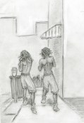 Two guys practicing boxing moves on Hgh Street. Pencil on paper, 2015