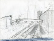 Pencil sketch for From the Peters St Viaduc, 1999