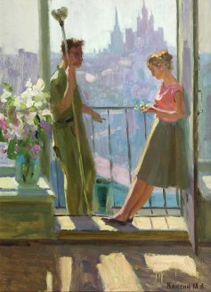 Painting of man and woman on a balcony
