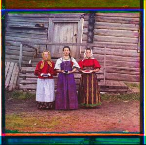 Russian Peasant girls holding berries