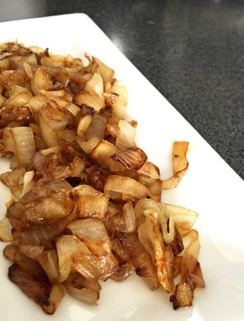 caramelized onions on a white platter