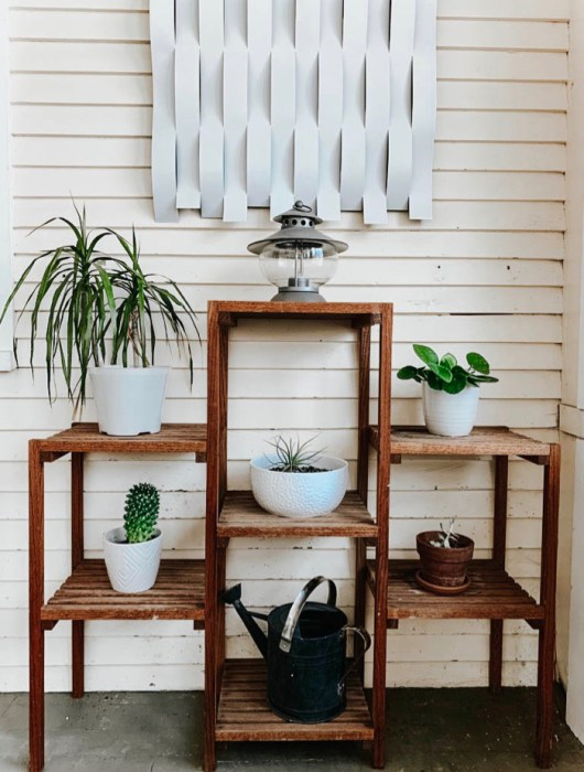 plants on a wooden plant stand in a sunroom porch