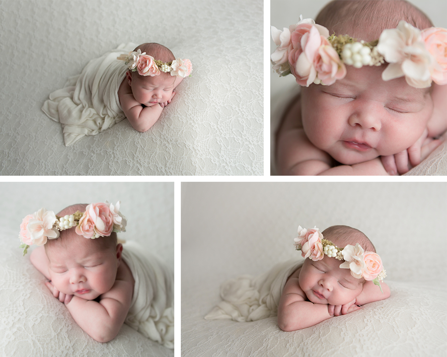 newborn baby girl in the studio