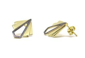Art Deco Fans, 2014, 14ct yellow gold, black rhodium