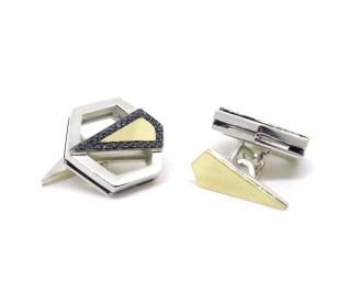 Gold Art Deco Hexagons, 2014, 14ct yellow gold, silver, black diamonds, black rhodium