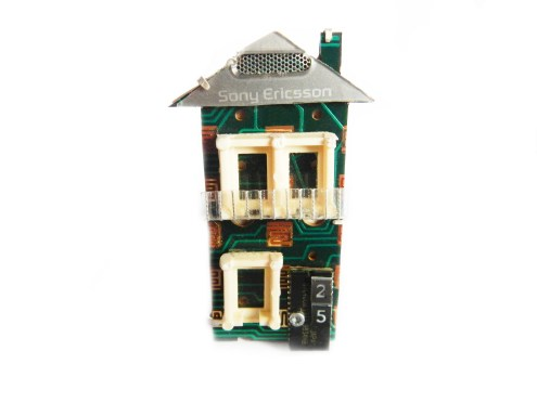 25 Charles St, Enmore, Phone Home brooch series, 2011, 925 silver, recycled mobile and phone parts