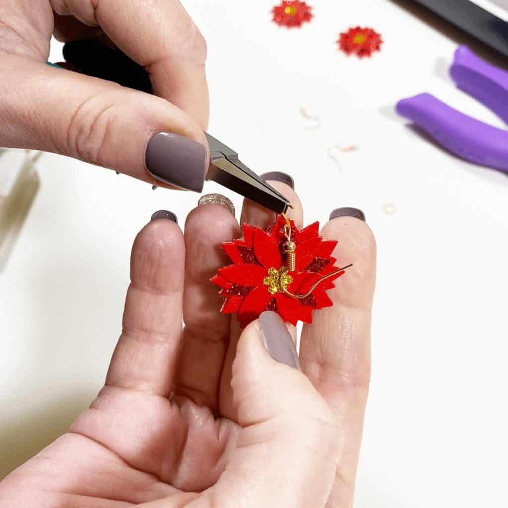 attaching earring hooks to poinsettia earrings