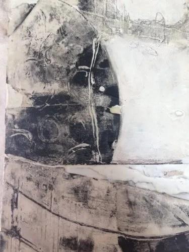 Plaster printmaking and encaustic, work in progress