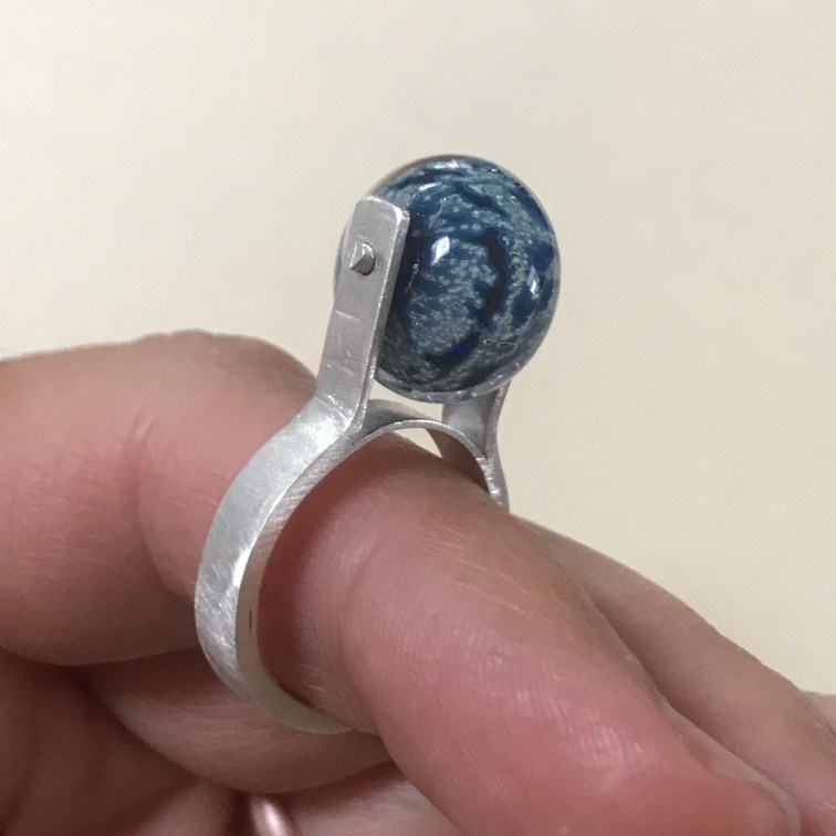 sterling silver ring with glass bead