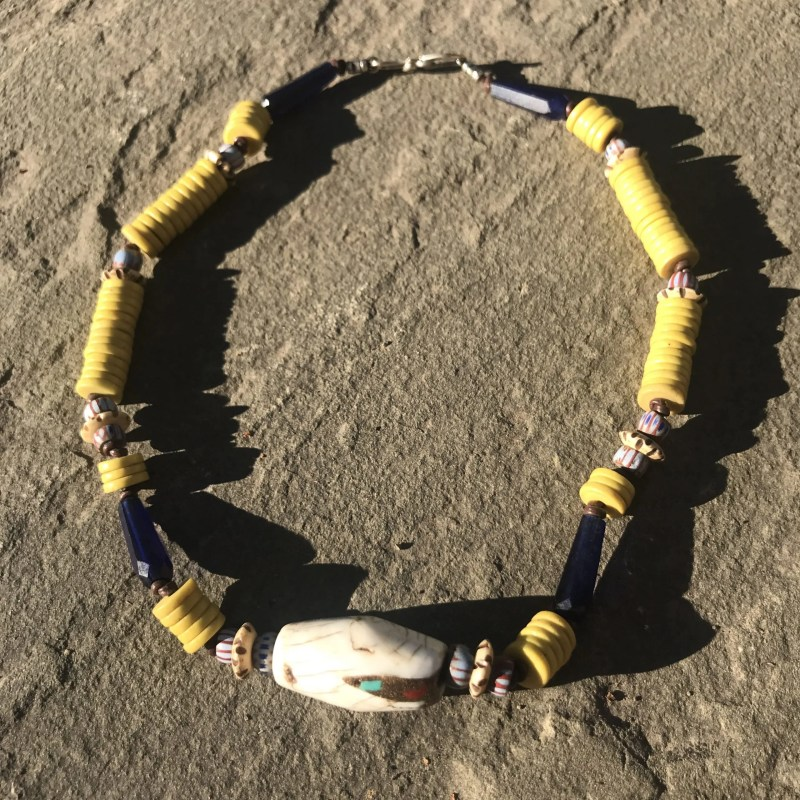 Inlaid Conch Trade Bead Necklace