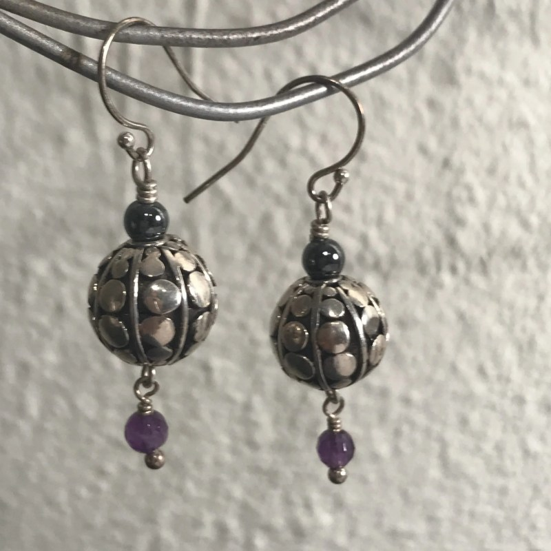 Amethyst and Hematite Earrings