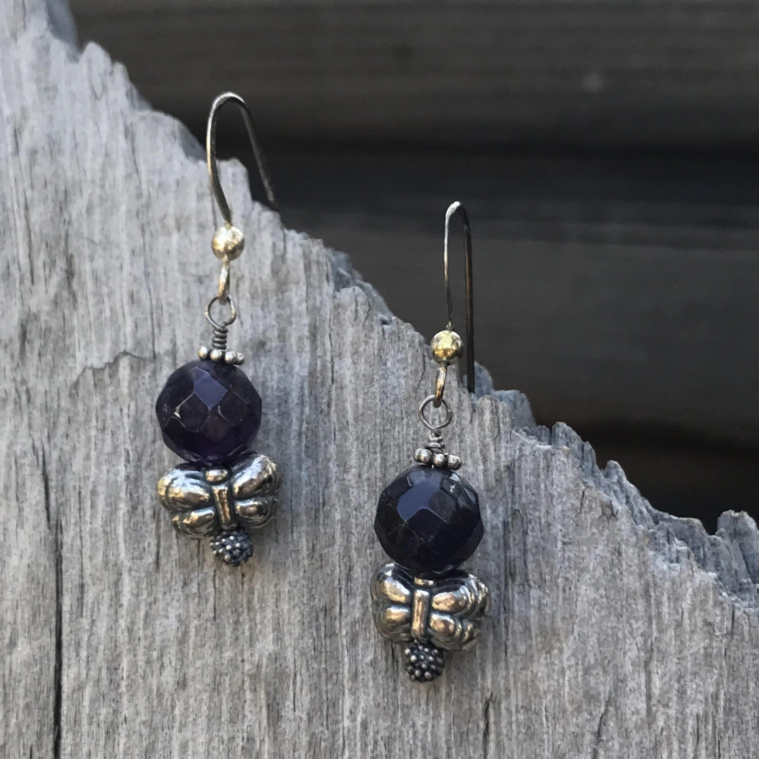 Amethyst and Butterfly Earrings