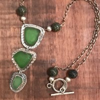 Beach Glass Triple Pendant