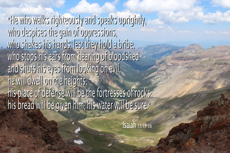 Isaiah 33:15-16