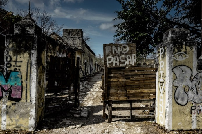 Entering Misnebalam, haunted ghost town of Mexico.