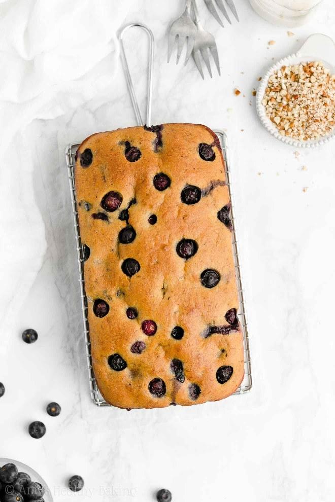 Easy Healthy Clean Eating Gluten Free Moist Blueberry Almond Banana Bread