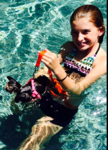 Jelly Bean learns to swim