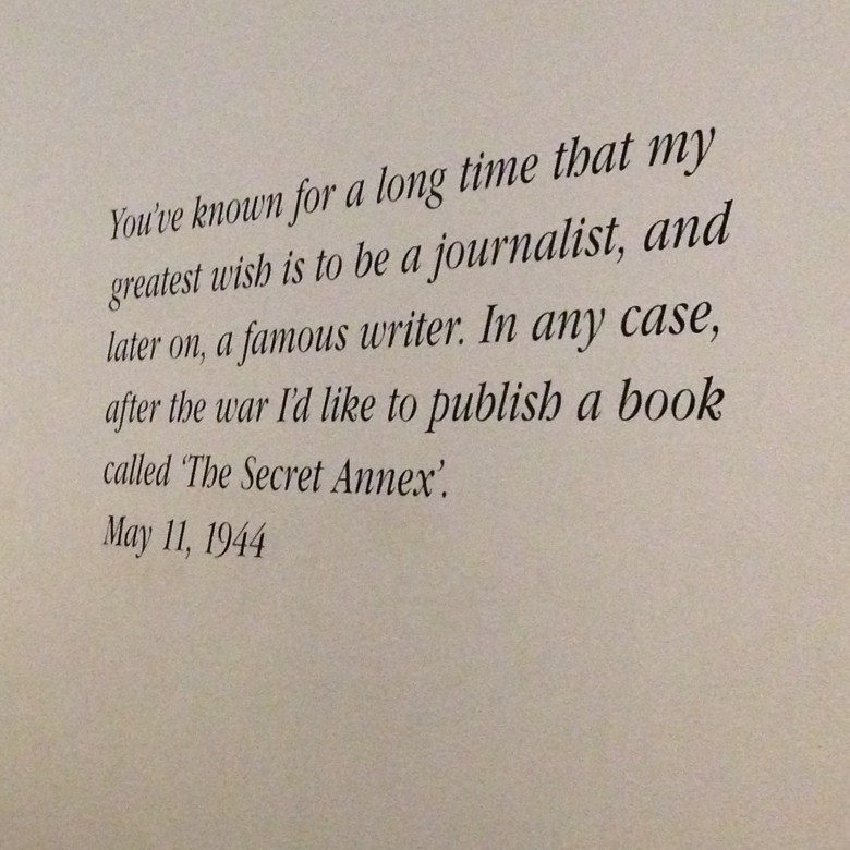Anne Frank's house Journalism quote writing