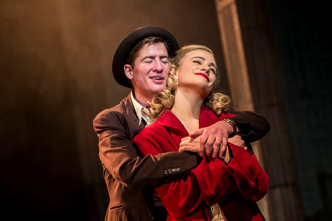 Matt Barber as Fred and Pixie Lott as Holly Golightly in Breakfast at Tiffany's (Sean Ebsworth Barnes)