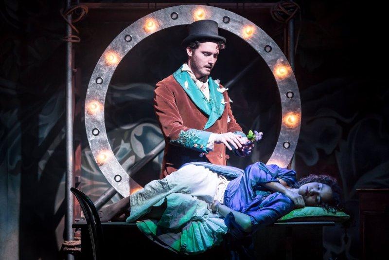 Jamie Sattherthwaite and Emma McDonald in A Midsummer Night's Dream at The Watermill Theatre. Photo: Scott Rylander.