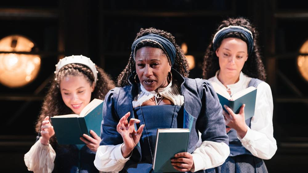 Saffron Coomber, Adelle Leonce and Clare Perkins in Emilia at the Vaudeville Theatre. Photo credit: Helen Murray