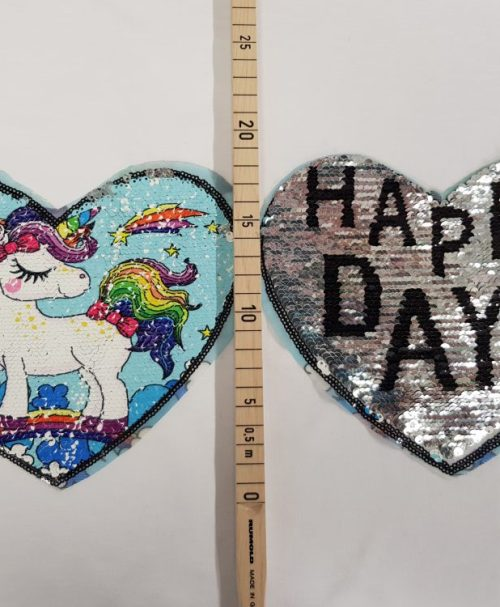 Wendepailletten-Applikation Happy Days Einhorn türkis