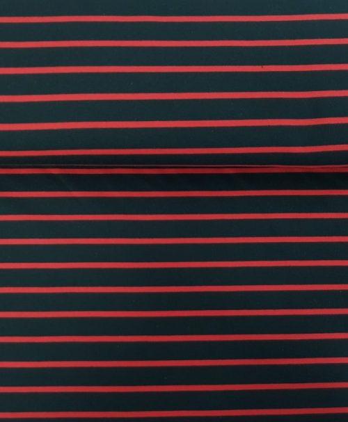 Sommersweat Streifen schwarz/rot