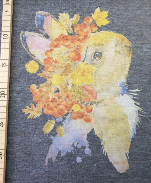 Jersey Panel Herbsthase dunkelblau melange