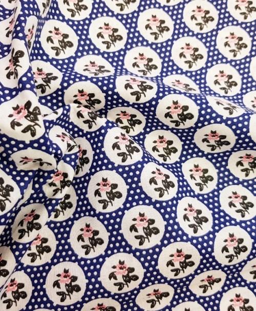 Reststück 0,4m 1,60€ Webware Flowers and Dotties blue (2.Wahl)