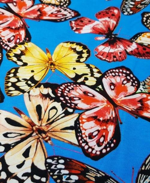 Jersey Schmetterlinge hellblau/rot