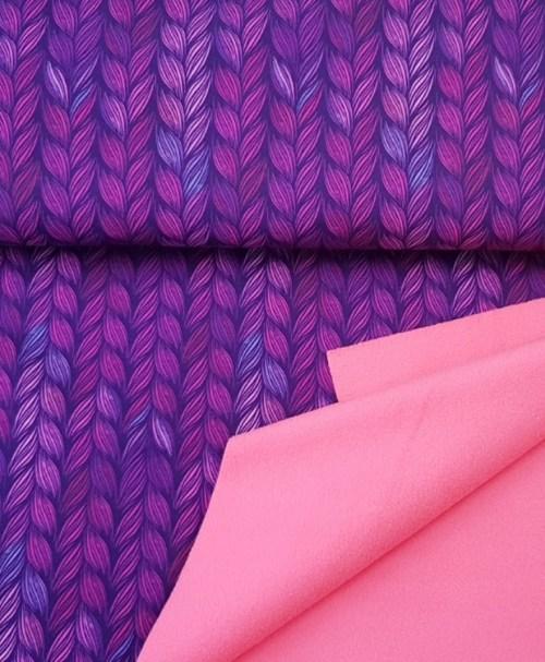 Softshell Zopfmuster lila/neonpink