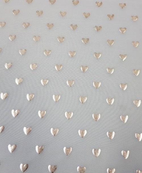 Mesh silver hearts hellblau