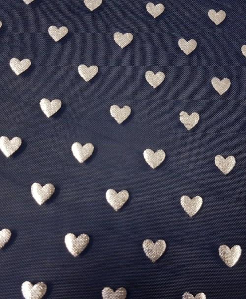 Mesh silver hearts marine