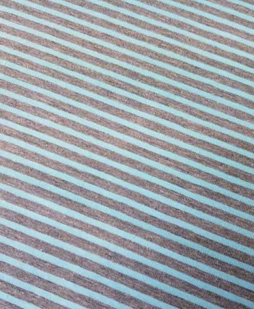 Jersey Ringel türkisblau/grau-meliert