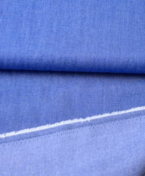 Chambray uni jeans mittelblau
