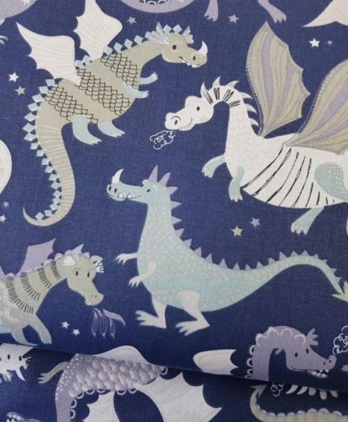 Baumwolle Webware Dragons blue