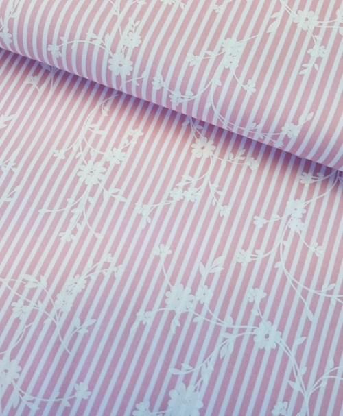 Hilco Webware Florencia Streifen rosa/weiß mit Blumen