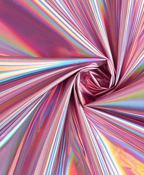 Folienstoff Holografisch rosa
