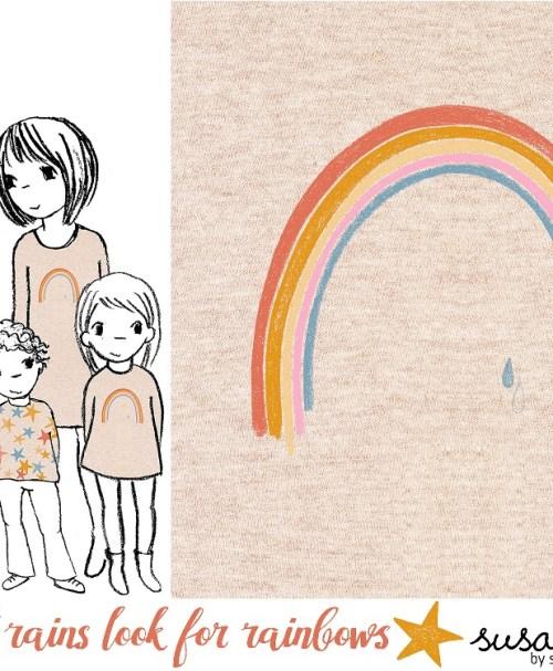Lillestoff Jersey Rapport When It Rains Look For Rainbows, meliert