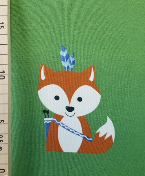 Hilco Jersey Forest Friends Boho Fuchs grün Panel