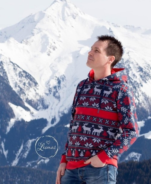 French Terry Knit Norway Hirsch rot/blau