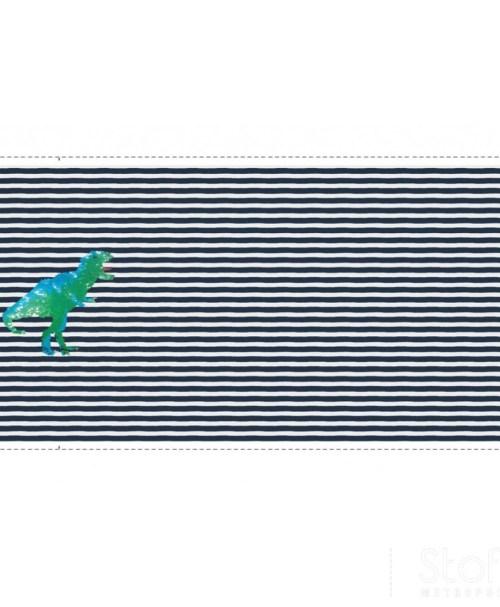 Jersey Rapport Wendepailetten-Dinosaurier Streifen dunkelblau/weiß