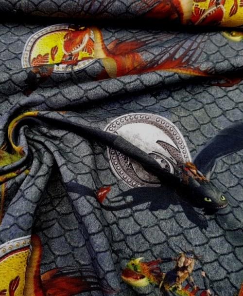 Reststück 1,1m 15,40€ Lizenzjersey Dragons Schuppen grau